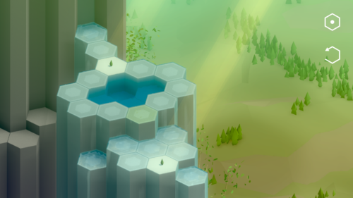 Screenshot of a level in Spring Falls, where all tiles are underwater, preventing the fertile ground to expand and the plants to grow.